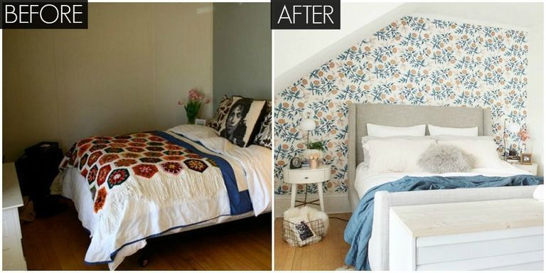Small Floral Bedroom Makeover - Bright Bedroom Before and After