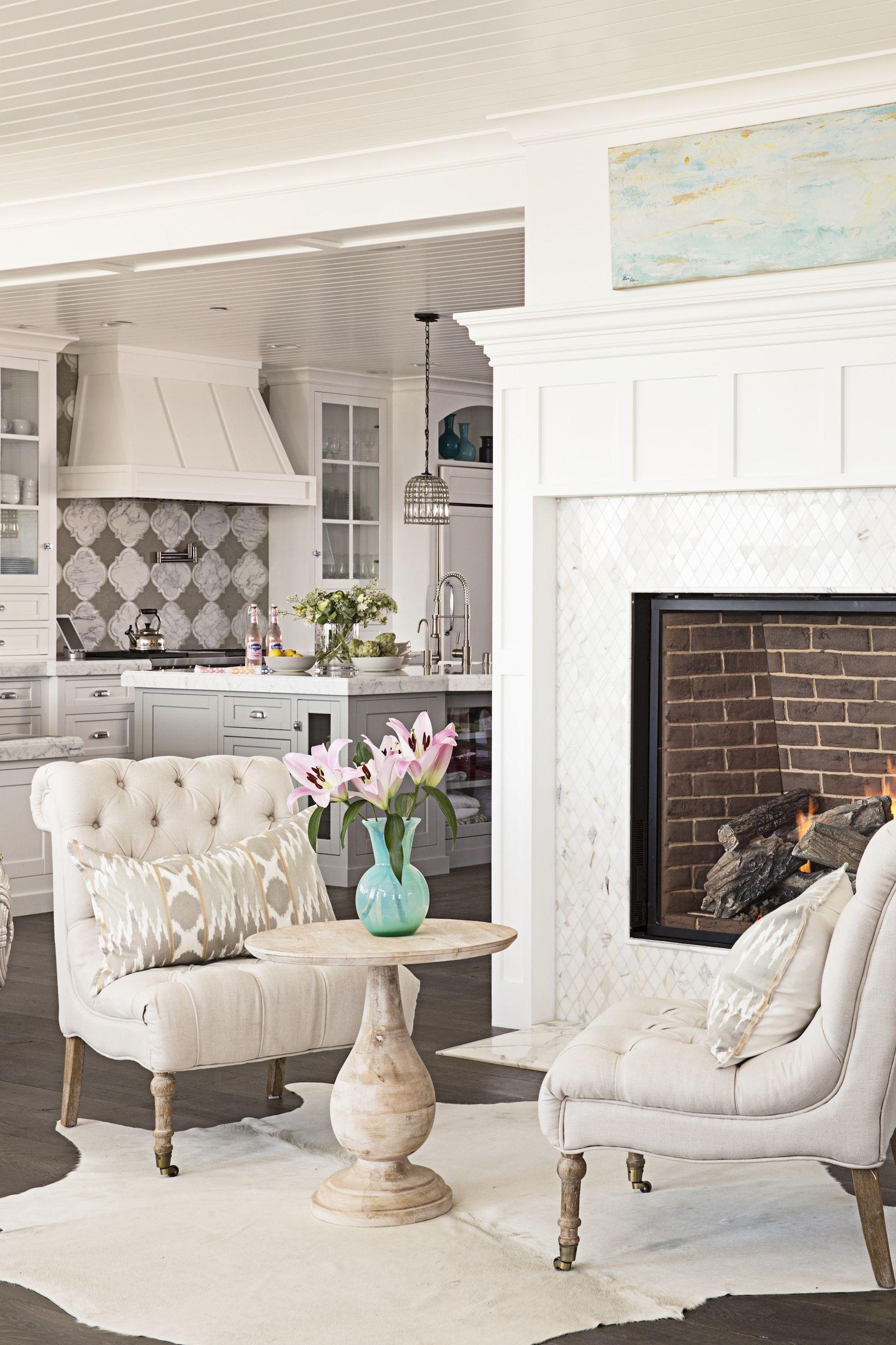 beach house living room fireplace