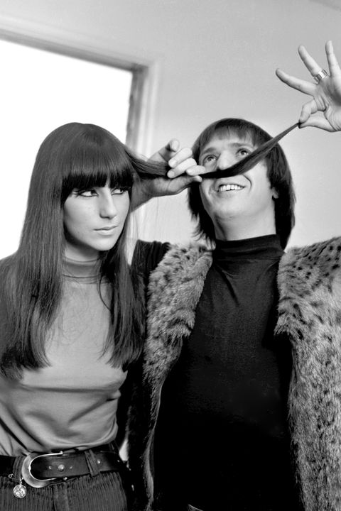 cher in 1965 with long straight hair and bangs