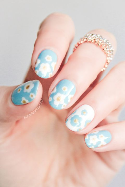 Floral Manicures For Spring And: 25 Flower Nail Art Design Ideas