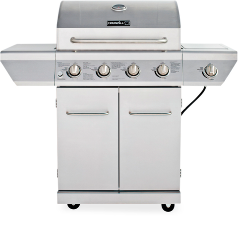 "Perfect grill marks, no smoking or flareups, a side burner, and space for 28 burgers … all at a nice price. Note: ""High"" gets too hot to cook chicken. (<em>$270, <a target=""_blank"" href=""http://www.homedepot.com/p/Nexgrill-4-Burner-Stainless-Steel-Propane-Gas-Grill-with-Side-Burner-720-0830H/205449953"">homedepot.com</a></em>)"