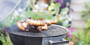 backyard BBQ grill with chicken