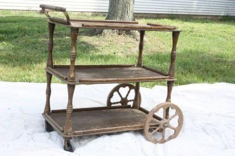 Vintage Tea Cart Makeover Bar Cart As A Towel Rack