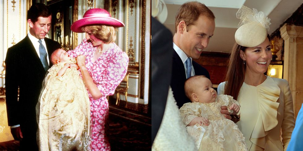 Diana and Prince Charles look on lovingly at baby Prince William on the day of his Christening at Buckingham Palace in 1982. (Photo by Anwar Hussein/WireImage)