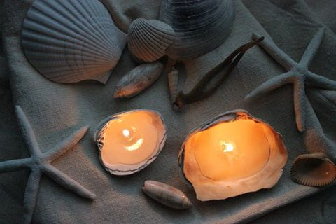 """Melt wax and pour it into your favorite seashells to make these beachy candles.  <em>Get the tutorial at <a target=""""_blank"""" href=""""http://diylouisville.blogspot.ie/2013/07/make-it-diy-seashell-candle.html"""">D.I.Y. Louisville</a>.</em>"""
