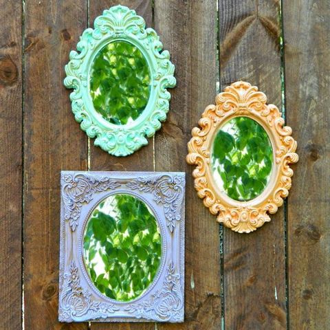 Cheesy plastic frames get a charming old-world look when painted in chalk paint (a cure-all for many DIY projects).