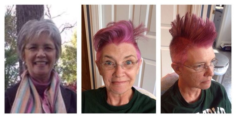 Mom With Cancer Dyes Hair Pink and Gets Mohawk Before Chemo - Janet ...