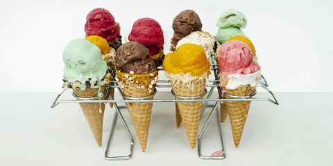 """<p>Serving store-bought ice cream does not make you a lame host. It make you awesome, especially when served in one of these  tricked out waffle cones. </p><p><a href=""""http://www.goodhousekeeping.com/food-recipes/dessert/g2586/ice-cream-cone-toppings-recipes/?""""><em>Get the recipes from Good Housekeeping »</em></a><br></p>"""