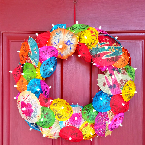 Paper Umbrella Wreath - Summer Wreaths