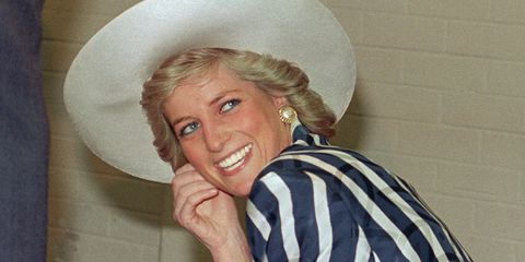 Princess Diana in Striped Shirt and Hat