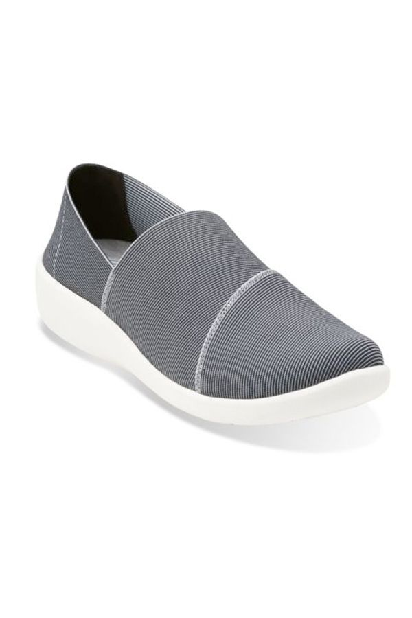 """<p>Flip-flops and ballet flats with no support simply won't cut it when you're chasing kids. Luckily, slip-ons that are both chic <em>and</em> comfortable — with good cushion and arch support — do exist. Thank you, Clarks cute and casual Cloud Steppers. <em>$85, </em><a href=""""http://www.clarksusa.com/us/cloudsteppers/cloud-steppers/Sillian-Firn-Black-Multi-Synthetic/p/26113083"""" target=""""_blank""""><em>ClarksUSA.com</em></a> </p><p><br></p>"""