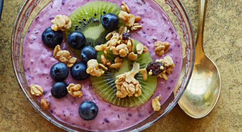 """<p>Hot summer mornings and bowls of hot mush don't go hand in hand. Make this refreshing parfait instead. Bonus: It tastes like a fruity crumble dessert. Win.</p><p><a href=""""http://www.goodhousekeeping.com/food-recipes/a14869/fruity-yogurt-parfait-recipe-ghk0115/""""><em>Get the recipe »</em></a><br></p>"""