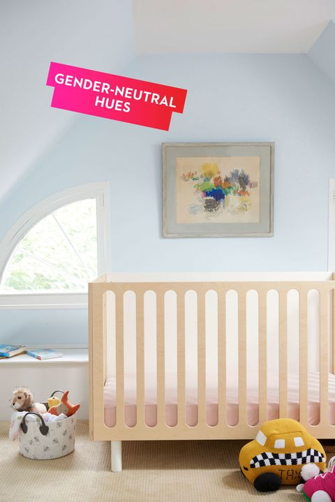 "<p>Yes, giving a room a fresh coat of paint is cheap and easy, but come on, no one wants to do that every year. A soothing backdrop for a contemporary crib, this gender-neutral blue allows bedding and toys to bring added pops of color and will last well into your kids' teen years. </p><p><em>Oeuf Fawn crib, <a href=""http://www.oeufnyc.com/index.php/furniture/cribs/fawn-crib-bassinet-system.html"" target=""_blank"">oeufnyc.com</a>; taxi pillow and roller skate pillow, </em><a href=""http://www.estella-nyc.com/"" target=""_blank""><em>estella-nyc.com</em></a>; <em>Warren Street Antiques art piece</em></p>"