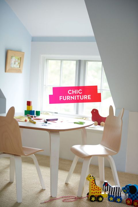 "<p>Carve out a niche in your toddler's bedroom for coloring, crafts and tea parties. Thanks to sleek Scandinavian styling, this whimsical play table and bunny chairs strike just the right note between child-friendly and chic. </p><p><em>Oeuf play table, <a href=""http://www.oeufnyc.com/index.php/furniture/play-table-chairs/play-table.html"" target=""_blank"">oeufnyc.com</a>; Oeuf rabbit chairs, <a href=""http://www.oeufnyc.com/index.php/furniture/play-table-chairs/rabbit-play-chair.html"" target=""_blank"">oeufnyc.com</a>; pull-along zoo animals, </em><a href=""http://www.melissaanddoug.com/pull-along-zoo-animals"" target=""_blank""><em>melissaanddoug.com</em></a></p>"