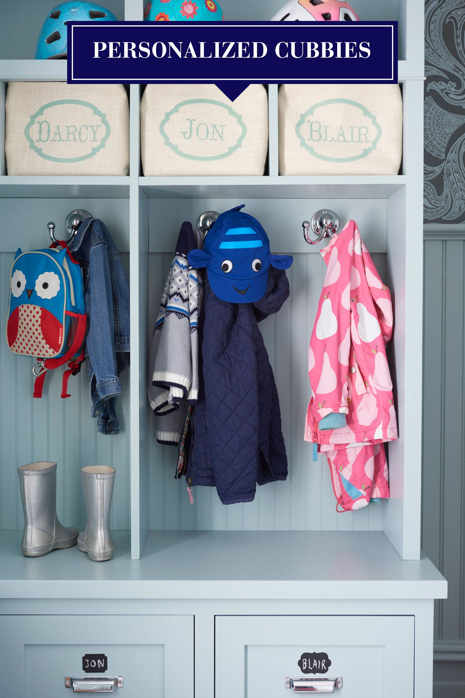 """<p>Teach little ones the value of tidying as you go—and add a personal element to a wall unit—by designating a hook, cubby and cabinet to each family member. The setup grants easy access to on-the-go essentials and keeps out-of-season staples out of sight. A bench gives tykes a place to perch, while cubbies underneath serve as way stations for boots and shoes.</p><p><em>Owl backpack, <a href=""""http://www.skiphop.com/product/zoosafetyharness.html"""" target=""""_blank"""">skiphop.com</a></em><br></p>"""