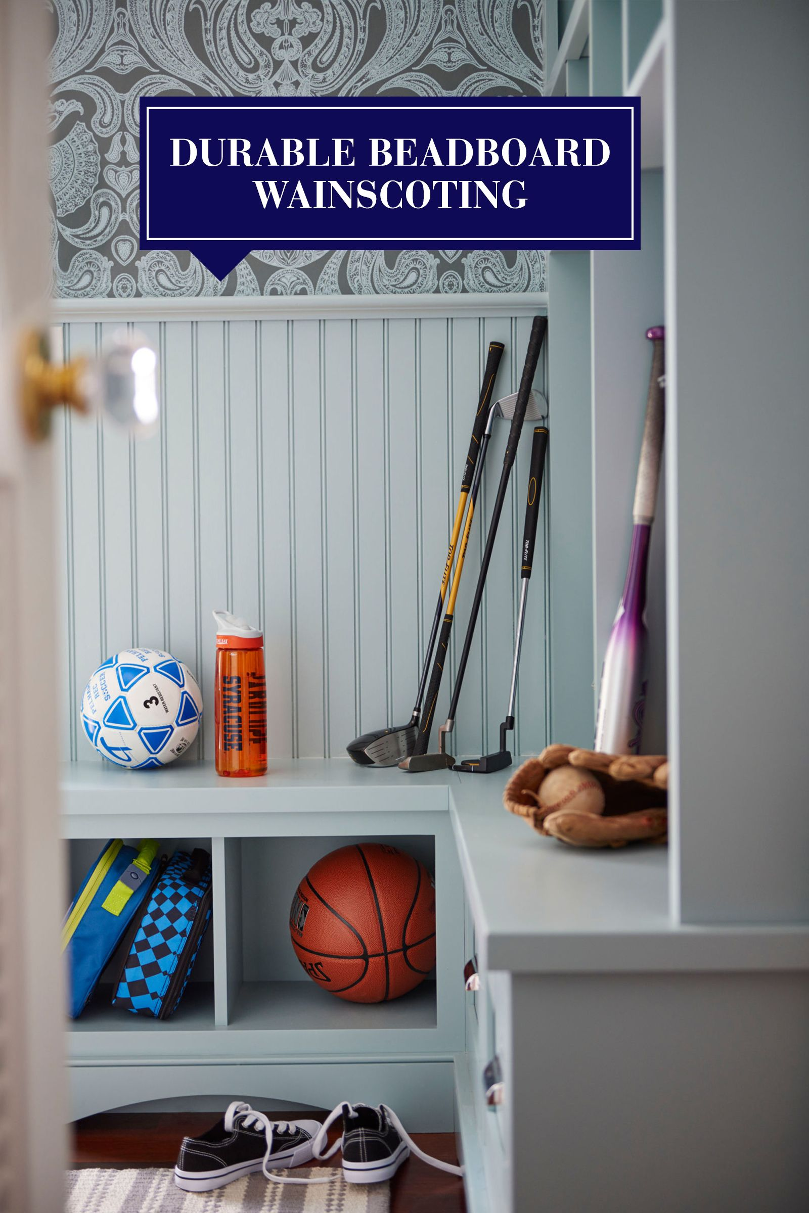 """<p>With an uptick in afterschool activities, the cubbies and bench become home to a plethora of sports equipment. When designing a mudroom, consider a wall treatment like beadboard wainscoting, which withstands daily wear and tear better than drywall.</p><p><em>Shop similar lunchboxes at <a href=""""http://www.skiphop.com/product/zoosafetyharness.html"""" target=""""_blank"""">skiphop.com</a></em><br></p>"""