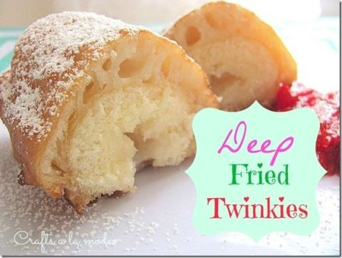 "<p>Here it is, the spongy, fried legend itself. If you have some Twinkies in the pantry (you should because they last forever), you're going to want to whip them out for this. </p><p><a href=""http://www.craftsalamode.com/2013/07/how-to-make-deep-fried-twinkies.html""><em>Get the recipe from Crafts a la Mode »</em></a><br></p>"