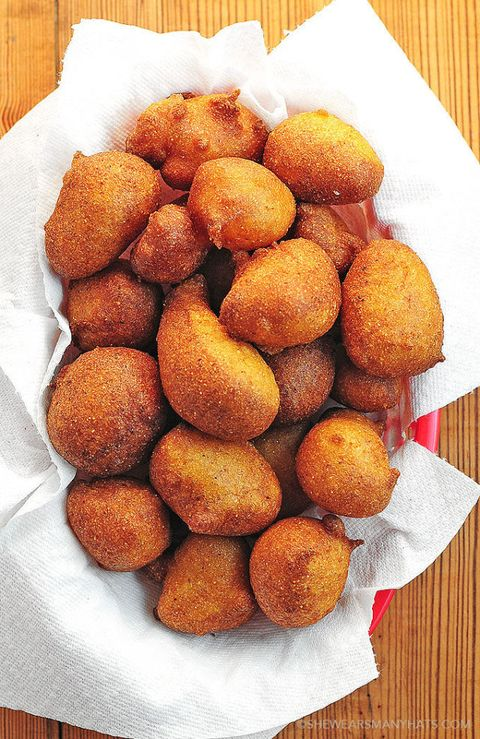 "<p>Hush puppies are just deep-fried cornbread nuggets, but that doesn't mean we don't worship every single thing about them. </p><p><a href=""http://shewearsmanyhats.com/beer-batter-hush-puppies-recipe/""><em>Get the recipe from She Wears Many Hats »</em></a></p>"