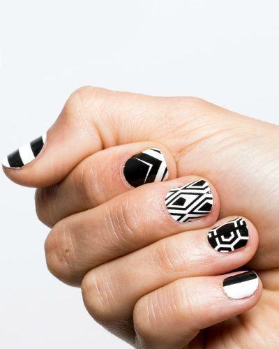 Birchbox. Black and White Geometry - 15 White Nail Art Designs - White Manicure Tutorials