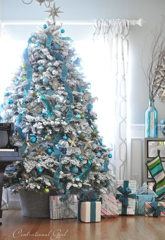 30 decorated christmas tree ideas pictures of christmas tree inspiration - White Christmas Tree With Blue And Silver Decorations