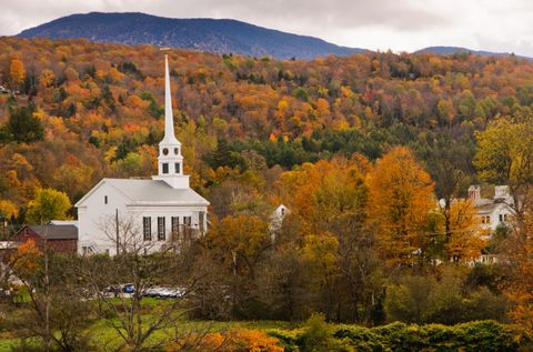 """<p><a href=""""http://www.countryliving.com/life/travel/a36136/vermont-fall-foliage/"""" target=""""_blank"""">Vermont claims</a> to have the best fall color in the world, and there's no better way to convince you of that than a trip to this charming town that's home to the famous <a href=""""http://www.trappfamily.com"""" target=""""_blank"""">Trapp Family Lodge</a>. The most brilliant color peaks from the last week of September through the first few weeks of October. </p><p><em>For more information, </em><em>visit </em><em><a href=""""http://www.gostowe.com/thingstodo/seasonal-activities/autumn/foliage"""" target=""""_blank"""">Gostowe.com</a>.</em><br></p>"""