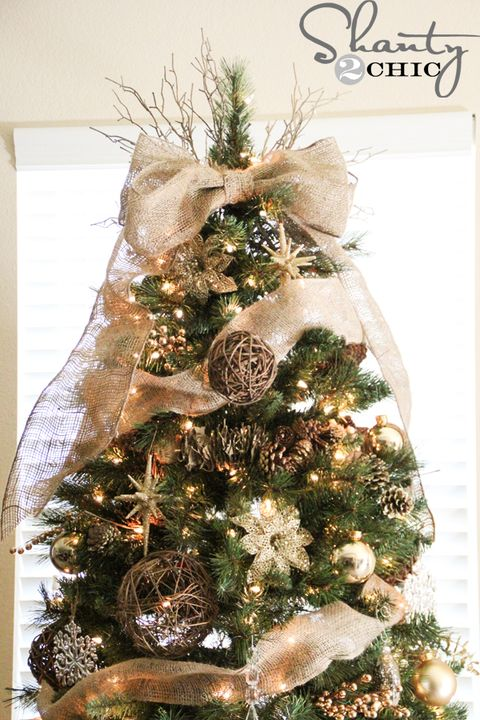 burlap bow christmas tree topper