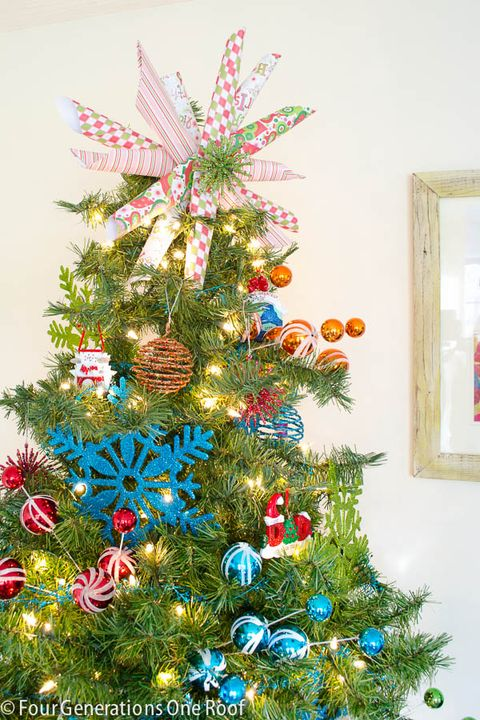 scrapbook paper christmas tree topper