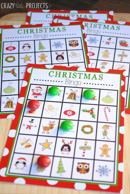 "<p>Print out a handful of <a href=""http://cf.crazylittleprojects.com/wp-content/uploads/2013/12/Christmasbingo.pdf"" target=""_blank"">free Christmas bingo boards</a>, filled with candy canes, snowflakes and gingerbread men — only the most cheerful, holiday items. </p><p><a href=""http://crazylittleprojects.com/2013/12/christmas-bingo.html"" target=""_blank""><em>See more at Crazy Little Projects »</em></a><span></span></p>"