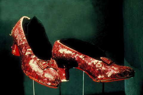 ed ruby shoes worn by Judy Garland as Dorothy in 'The Wizard of Oz' on display at Smithsonian Museum.