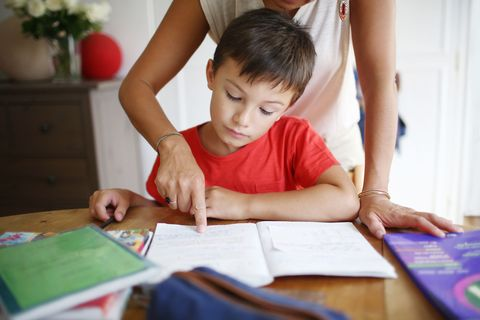 mother helping her son with math homework