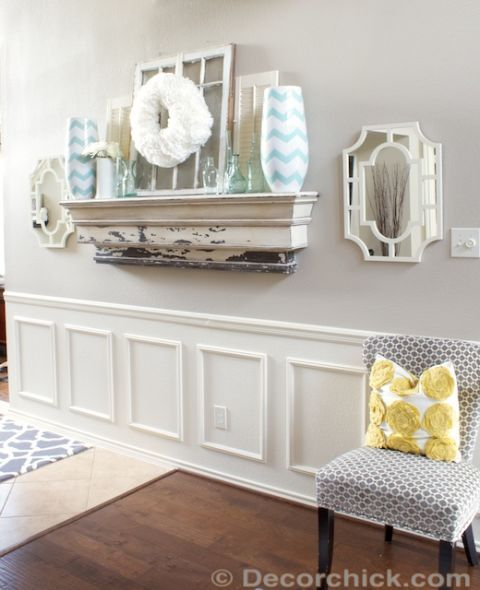 "<p>Emily of Decorchick! used a chair rail, wooden frames, caulking, and several coats of white paint to create this wainscoting look-alike. </p><p><em>Get the tutorial at <a href=""http://decorchick.com/how-to-fake-wainscoting/"" target=""_blank"">Decorchick!</a>.</em> </p>"
