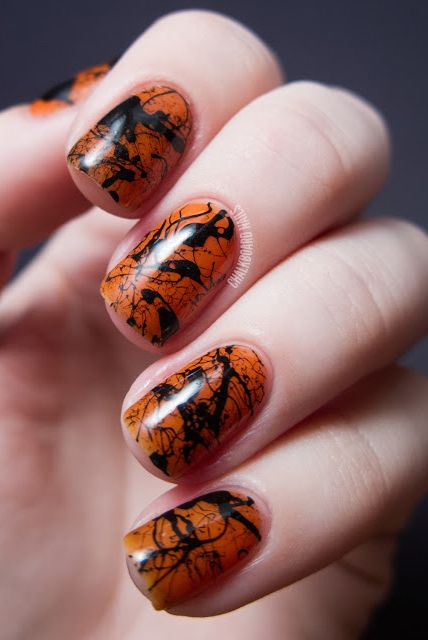 Fall Splatter Nail Design