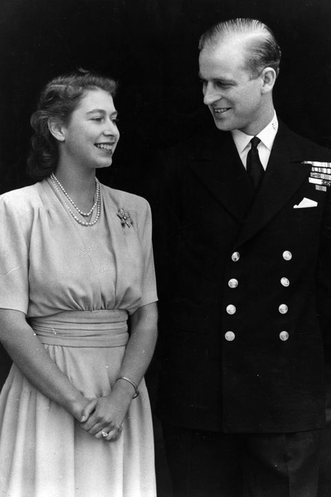 1947: H R H Princess Elizabeth and Philip Mountbatten, Duke of Edinburgh, on the occasion of their engagement at Buckingham Palace in London.
