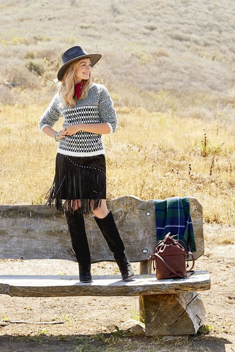 "<p>Put a little swing in your step — or at least on your skirt — because nothing's hotter than fringe. Anchor the swish with a graphic piece that keeps the look modern.</p><p><em>Sweater, Foxiedox, $92, <a href=""http://pacsun.com"" target=""_blank"">pacsun.com</a>; Skirt, $77, <a href=""http://oasis-stores.com"" target=""_blank"">oasis-stores.com</a>; Hat, Ále by Alessandra, $168, <a href=""http://freepeople.com"" target=""_blank"">freepeople.com</a>; Bandanna, $7, <a href=""http://ae.com"" target=""_blank"">ae.com</a>; Ring, $49, <a href=""http://silpada.com"" target=""_blank"">silpada.com</a>; Bracelets, $65 and $55, <a href=""http://rjgraziano.com"" target=""_blank"">rjgraziano.com</a>; Boots, $199, <a href=""http://guess.com"" target=""_blank"">guess.com</a>; Bag, $249, <a href=""http://pendleton-usa.com"" target=""_blank"">pendleton-usa.com</a>; Blanket, $159, <a href=""http://kaufmann-mercantile.com"" target=""_blank"">kaufmann-mercantile.com</a>.</em></p>"