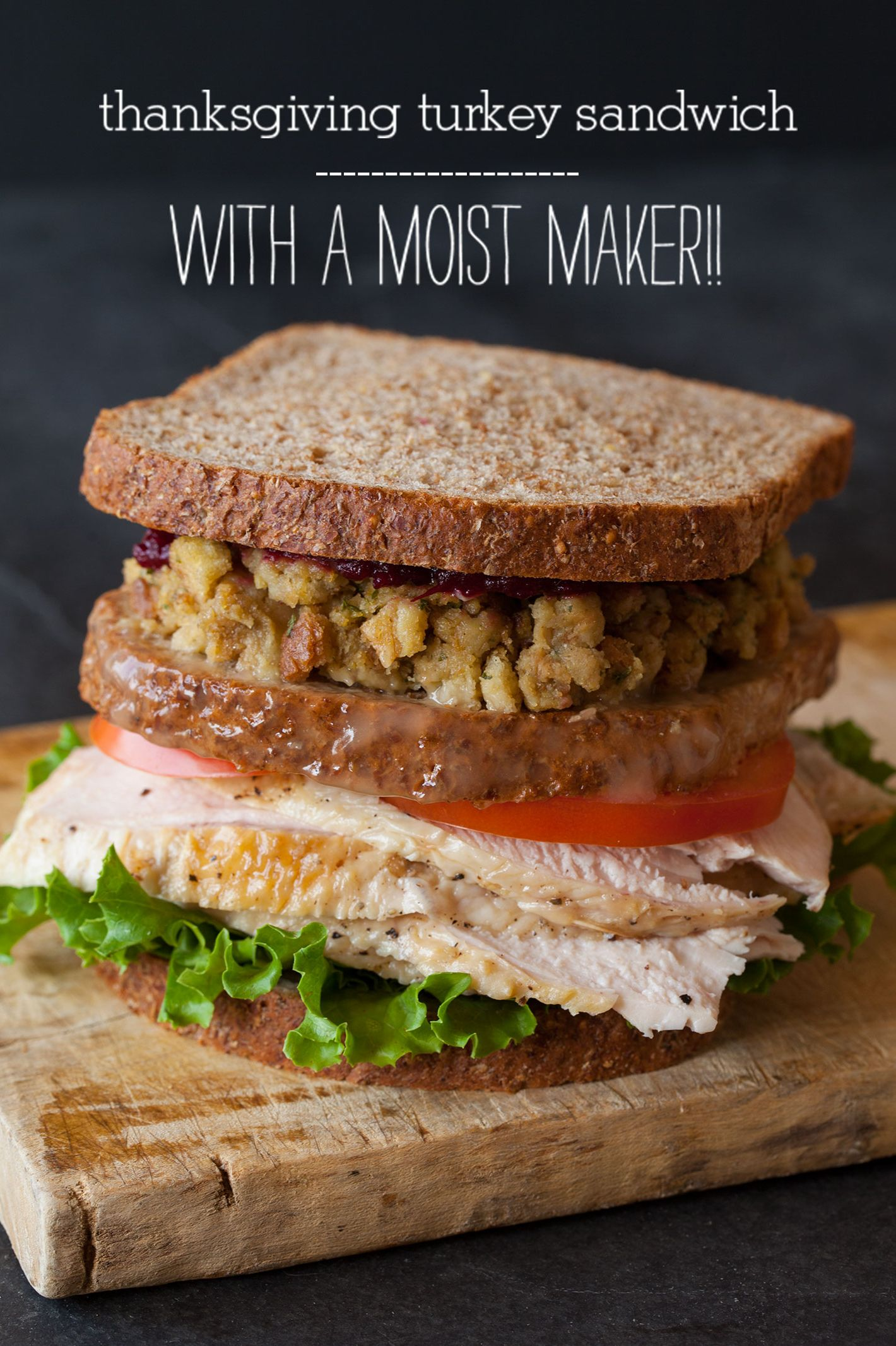 thanksgiving leftover sandwich with a moistmaker / leftover turkey recipes