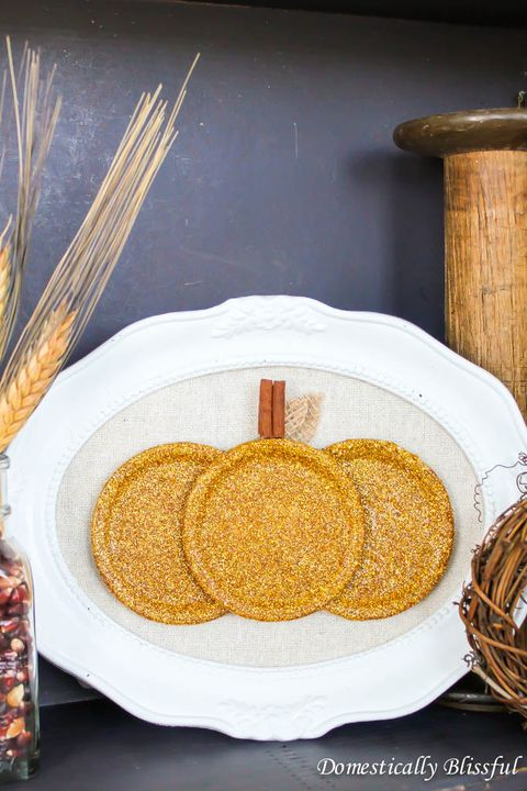 Fall Crafts Mason Jar Sparkly Pumpkin Lid