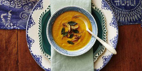 thanksgiving appetizers  pumpkin sage soup