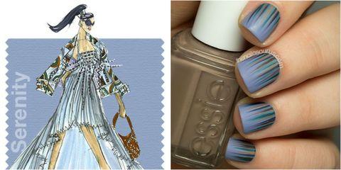 Style, Nail, Costume design, Teal, Gown, Lavender, Nail polish, Nail care, Fashion illustration, Cosmetics,