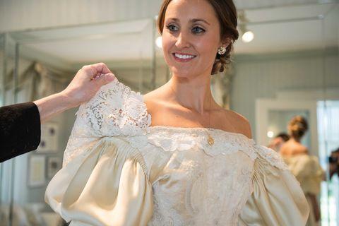 Abigail Kingston in wedding dress
