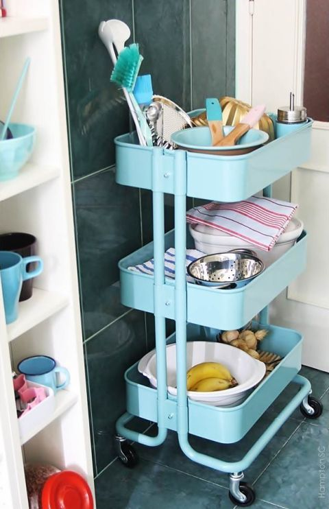 Teal, Shelving, Turquoise, Plastic, Gas, Kitchen appliance accessory, Shelf, Glove, Household supply, Kitchen cart,