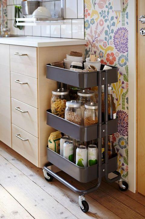 Interior design, Cabinetry, Grey, Beige, Drawer, Cuisine, Shelving, Peach, Cupboard, Dishware,