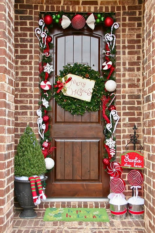 35 christmas door decorating ideas best decorations for your front door - How To Decorate Front Porch For Christmas