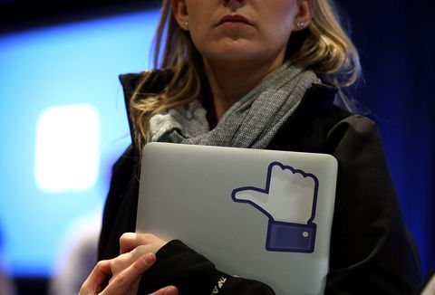 Facebook like button on laptop