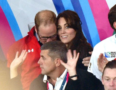 William and Kate at the England v Wales match during the Rugby World Cup 2015 on September 26, 2015.
