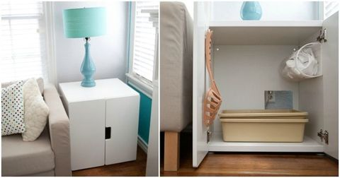 "<p>You'd hardly know that this sleek piece was hiding all of kitty's personal items. An entryway carved into the back provides easy access inside.</p><p><em><a href=""http://imbeetlebailey.blogspot.com/2011/06/diy-kitty-litter-box-table.html"" target=""_blank"">Get the tutorial at Bellapop »</a></em></p>"
