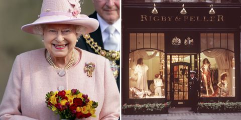 Queen Elizabeth II and Rigby and Peller lingerie store