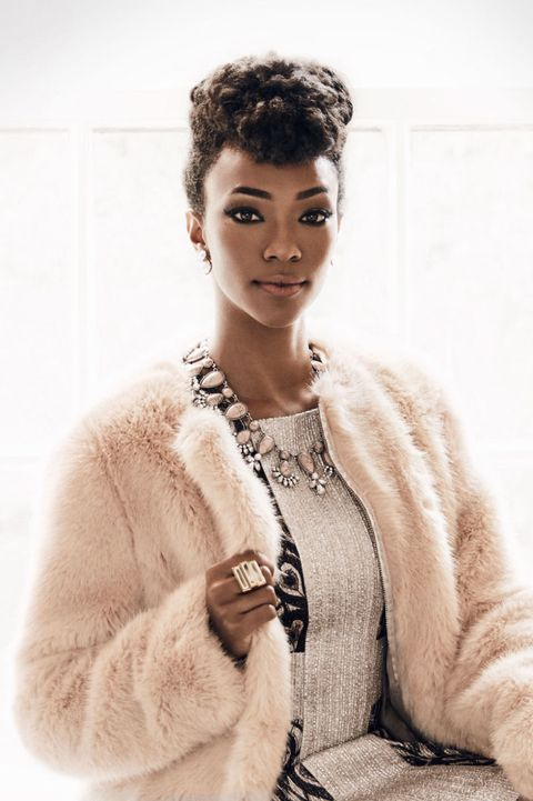 """<p>Wrap yourself in pure coziness. A faux-fur jacket is surprisingly versatile and a total conversation piece. Wear it to fancy up jeans, or with '30s-inspired bling to look party-ready.</p><p><em>Jacket, $155, <a href=""""http://oasis-stores.com"""" target=""""_blank"""">oasis-stores.com</a>; Dress, $628, Jill Stuart; Earrings, $10, <a href=""""http://lulus.com"""" target=""""_blank"""">lulus.com</a>; Necklace, $120, <a href=""""http://cocoajewelry.com"""" target=""""_blank"""">cocoajewelry.com</a>; Ring, $58, <a href=""""http://isharya.com"""" target=""""_blank"""">isharya.com</a>.</em></p>"""