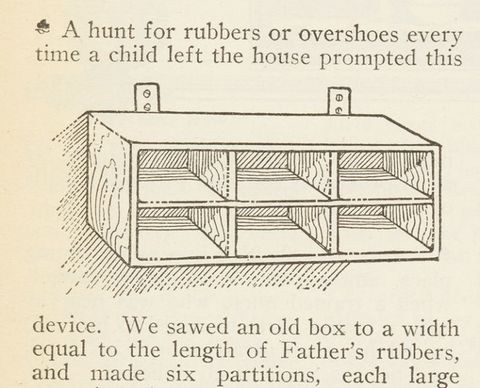 <p>There was no IKEA, so homeowners turned to Good Housekeeping for do-it-yourself ideas, like this handy shoe organizer from our March 1911 issue.</p>
