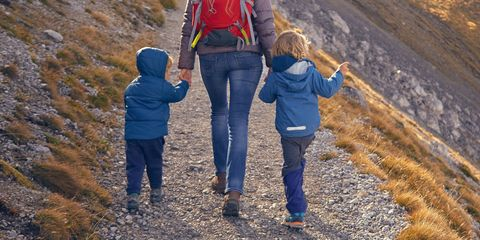 Mom Walking With Kids