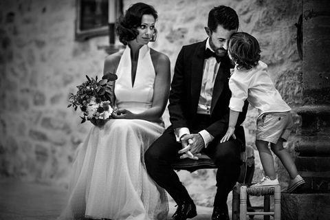 Dress, Coat, Trousers, Photograph, Suit, Outerwear, Happy, Style, Formal wear, Bride,